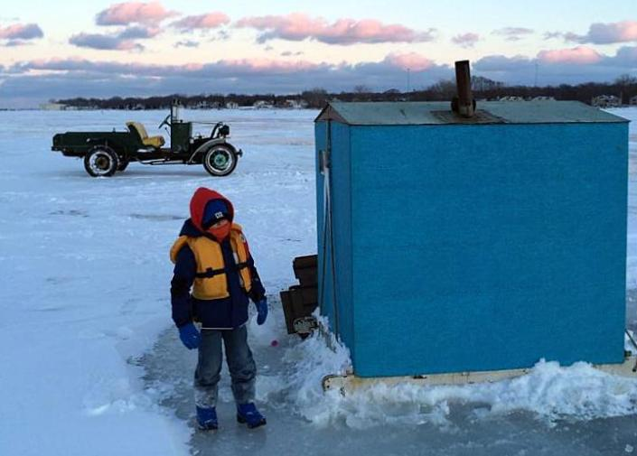 Americana lives strong on lake erie ice put in bay daily for Lake erie ice fishing