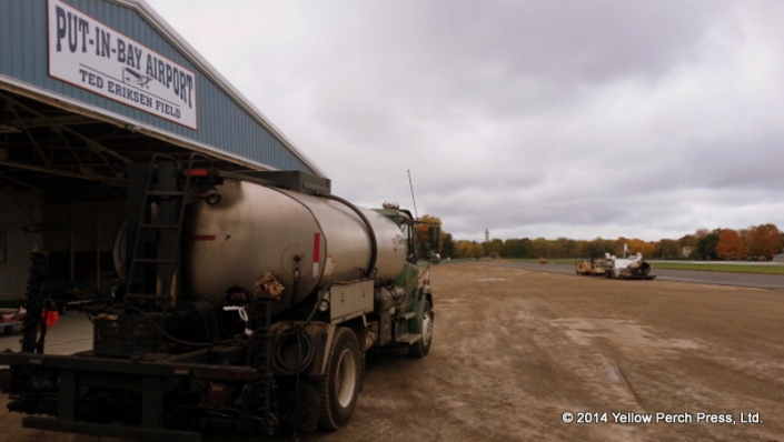 Hot tar truck ready for action at Put-in-Bay Airport / 3w2