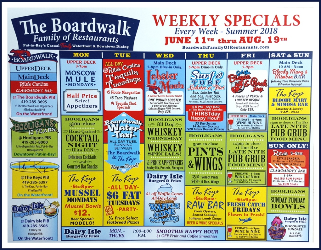 Put in Bay Dining specials